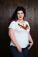 Жіноча трикотажна футболка-вишиванка.Р-ри 44-56