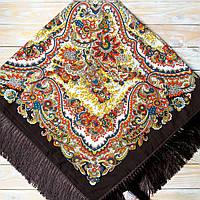 Женский платок с орнаментом (135х135 см, коричневый, 80%-шерсть)