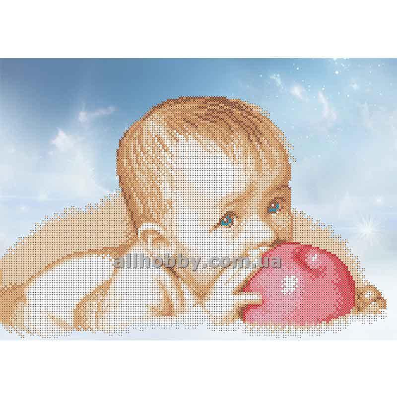 Схема для вышивания бисером Малыш с яблоком БИС3-72 (А3)
