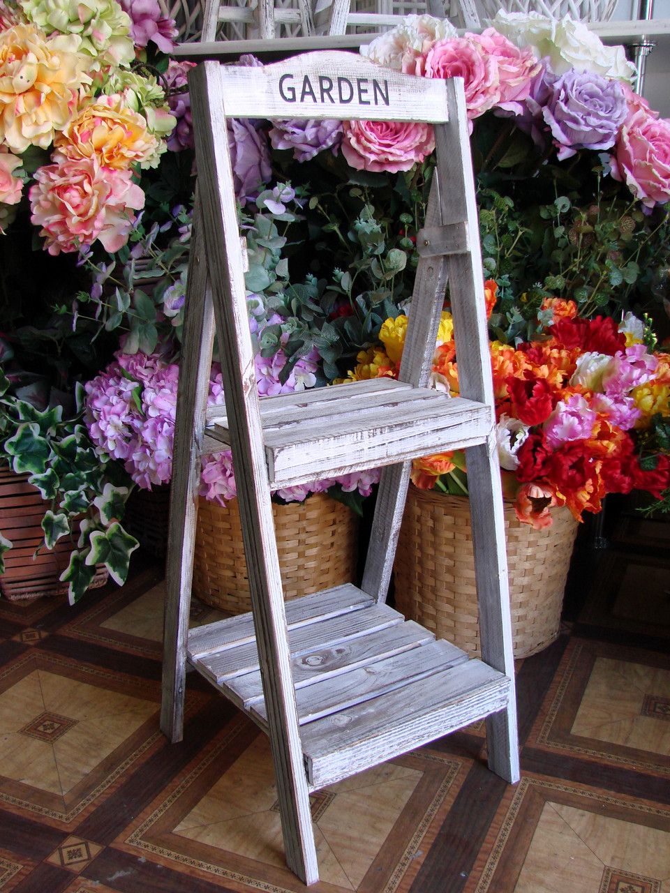 Декор для дома лесенка деревянная для цветов Garden из 2-х ступенек (складная) - April House производство и продажа товаров для дома в Одессе