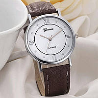 Часы женские наручные кварцевые Geneva PLATINUM с коричневым кожаным браслетом