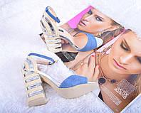Женские босоножки на каблуке эко-кожа + текстиль Джинс