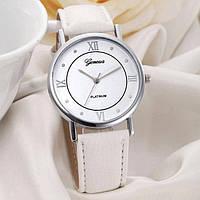 Часы женские наручные кварцевые Geneva PLATINUM с белым кожаным браслетом