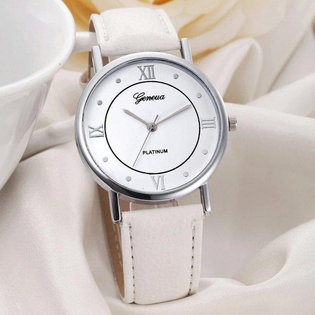 Часы женские наручные кварцевые Geneva PLATINUM с белым кожаным браслетом - Фарбия - колор-студия, СПД Розенталь А. А. в Кривом Роге