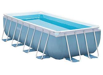 Прямоугольный каркасный бассейн Intex + фильтр-насос + лестница,  400х200х100 см (28316)