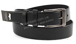 Мужской кожаный прочный подростковый ремень черного цвета 3 см (100578)
