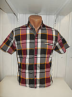 Сорочка чоловіча CORM короткий рукав, клітина, стрейч котон 002\ купити сорочку оптом.