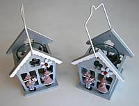 Декор для дома Подсвечник-домик деревянный подвесной на 1 чайную свечу.