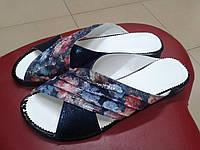 НОВИНКА! Женские шлепанцы на низком ходу  Madam Salon 5099-4 синие