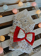 Покривало-конверт із плюшу із бантом з совами в кремових тонах 1104