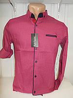 Рубашка подросток Paul Smith длинный-короткий рукав, мелкий узор стрейч, заклепки 005
