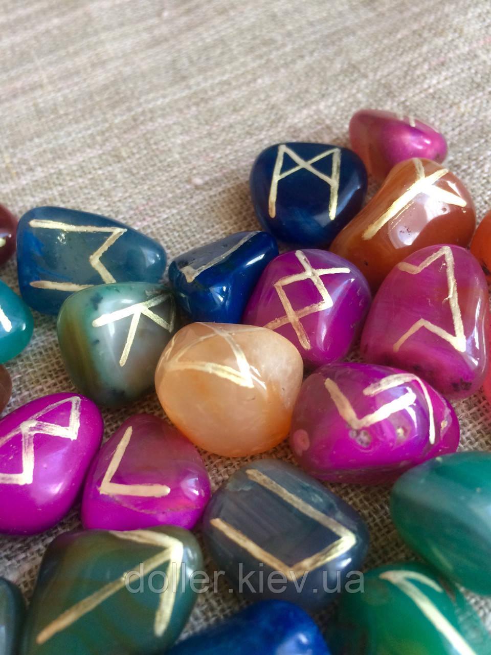 Руны из камня, 25 символов. Цветной агат (XL)