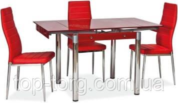 Стол ТВ-21 красный, 800х650мм, 1300х650мм раскладной