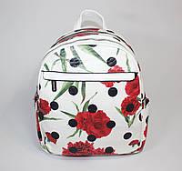 Белый рюкзак в цветочный принт