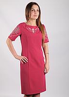 Платье с вышивкой Ориана малиновое