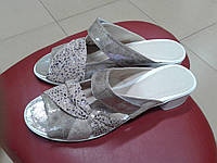 НОВИНКА! Красивые женские шлепанцы на каблучке  Madam Salon 5111-2 бежевые