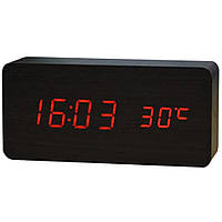 Электронные настольные часы под дерево 1299 (подсветка: красная)