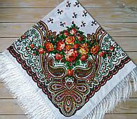 Белый платок для девушек с цветами (110х110см, белый, 80%-шерсть)