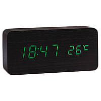 Бесплатная доставка Электронные настольные часы под дерево 1299 (подсветка: зелёная)