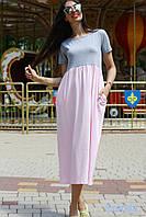 """Летнее женское платье миди с карманами """"Лаура"""" нежно-розовое"""