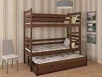 Трехместная кровать трансформер Шрек-трио из массива бука с дополнительным выдвижным спальным местом