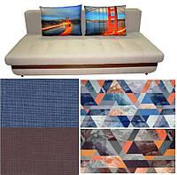 Прямой диван с абстрактным рисунком Бали с МДФ панелью