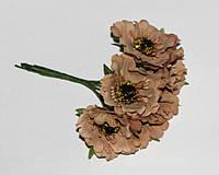 """Искусственные цветы  """"мак"""" 4 см. ( 60 штук). Бежевый"""