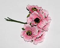 """Искусственные цветы  """"мак"""" 4 см. ( 60 штук). Розовый"""