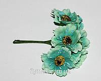 """Искусственные цветы  """"мак"""" 4 см. ( 60 штук). Бирюзовый"""