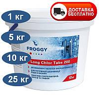 """Медленнорастворимый хлор """"Long Chlor Tabs 200"""" FROGGY, (в таблетках)"""