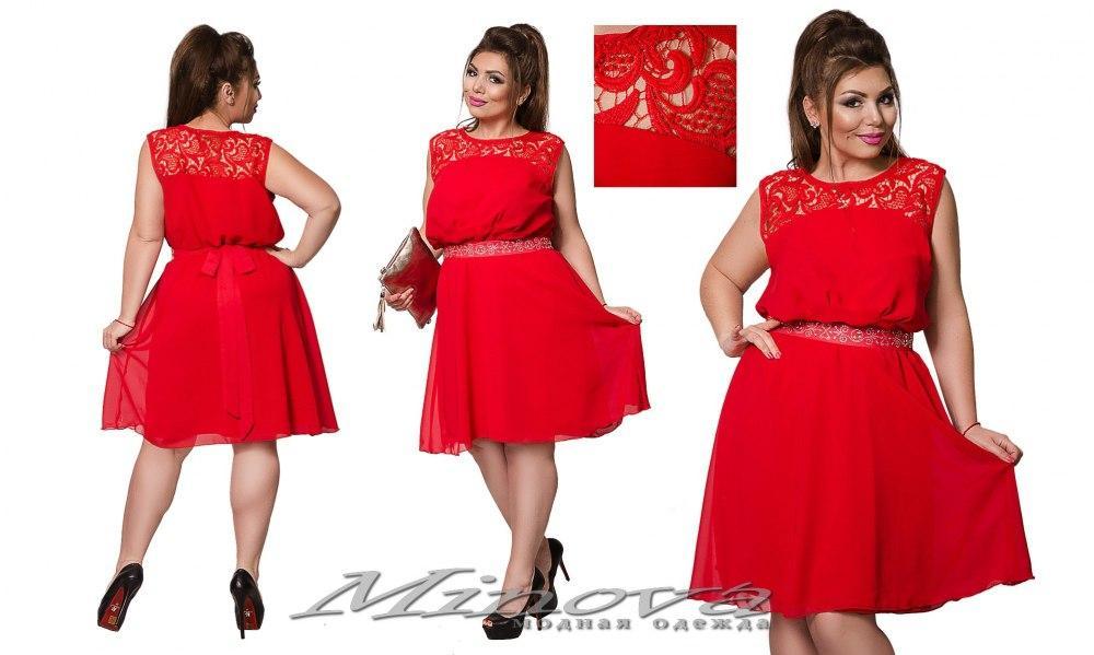 2af6e6930935537 Легкое шифоновое платье до колен украшено кружевом размер: 48, 50, 52, 54