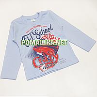Детский реглан (джепмер, свитшот, футболка с длинным рукавом) р.92 для мальчика ткань 100% хлопок 3695 Голубой