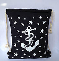 Пляжный рюкзак, пляжная текстильная летняя сумка цвет черный