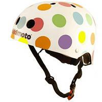 Шлем детский Kiddi Moto белый в цветной горошек (размер M)