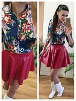 Блуза (Фабричный Китай) ткань креп шифон цвет айвори.синий  размер s m l