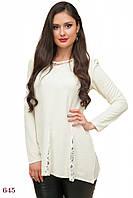 Блузка Бонжур (48 размер, бело-молочный) ТМ «PEONY»
