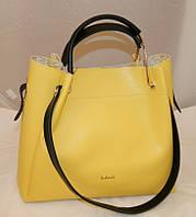 Желтая женская сумка-шопер B.Elit с отстёгивающейся косметичкой