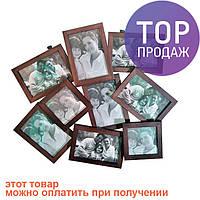 Рамка для фото семейная на 9 фото (дерево) / Настенные фоторамки