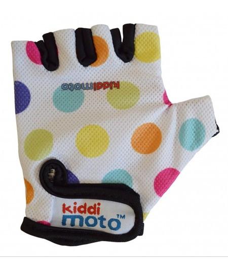 Велоперчатки детские Kiddi Moto белые в цветной горошек (BB)