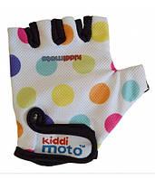 Велоперчатки детские Kiddimoto белые в цветной горошек (BB)