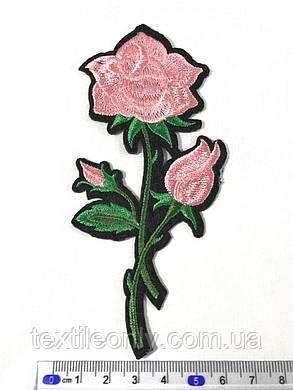 Нашивка Роза  цвет розовый, фото 2