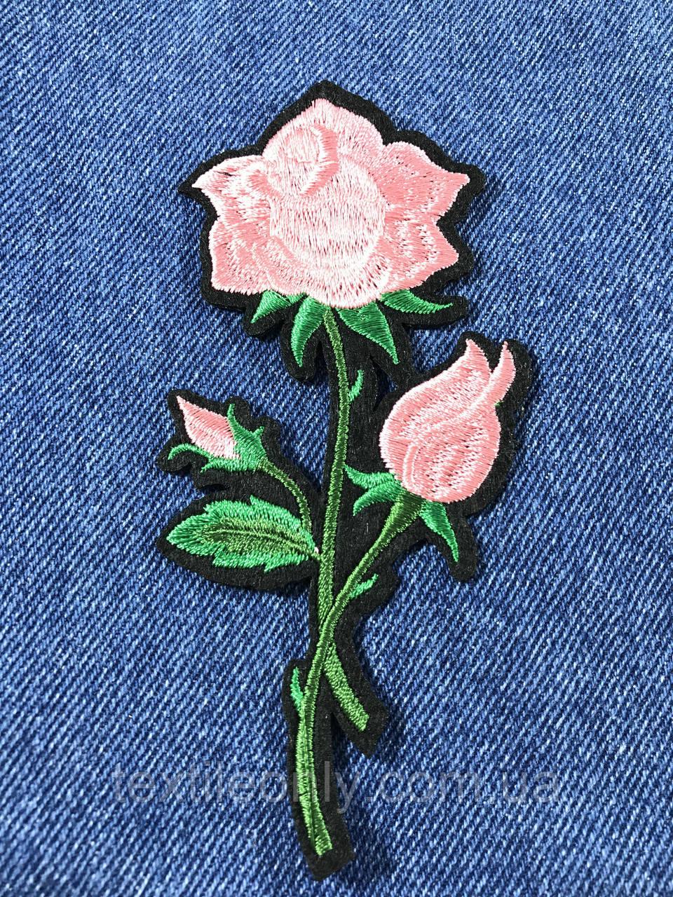Нашивка Роза  цвет розовый