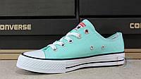 Дитячі та підліткові кеди Converse Mint All Star Chuck Taylor Low Aqua м'ятні бірюзові Конверс, фото 1
