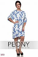 Платье Тулуза (52 размер, белый+син розы) ТМ «PEONY»
