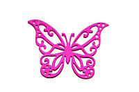 Бабочки 6см малиновые, 12шт