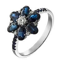 Золотое кольцо с бриллиантами и сапфирами Мелисента 17.5 000005060