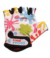 Велоперчатки детские Kiddi Moto цветные кляксы, белые (BB)