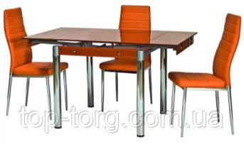 Стол ТВ-21 оранжевый +хром 800х650мм, 1300х650мм