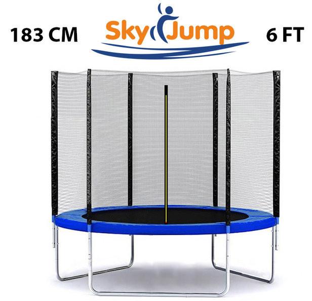 Батут SkyJump 183 см с защитной сеткой спортивный игровой (батут із захисною сіткою ігровий)