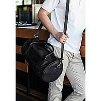 Кожаная спортивная дорожная сумка Harper Черная